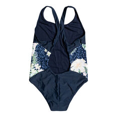 Roxy Girls Heaven Wave Sporty One Piece Navy 8, Navy, rebel_hi-res