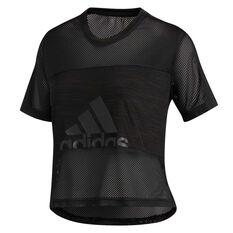 adidas Womens Badge Of Sport Tee Black XS, Black, rebel_hi-res