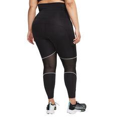 Nike Air Womens Dri-FIT Fold Over Waist 7/8 Tights Black XS, Black, rebel_hi-res