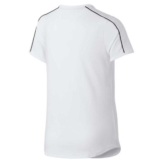 Nike Girls Court Dri-FIT Tennis Tee, White / Black, rebel_hi-res