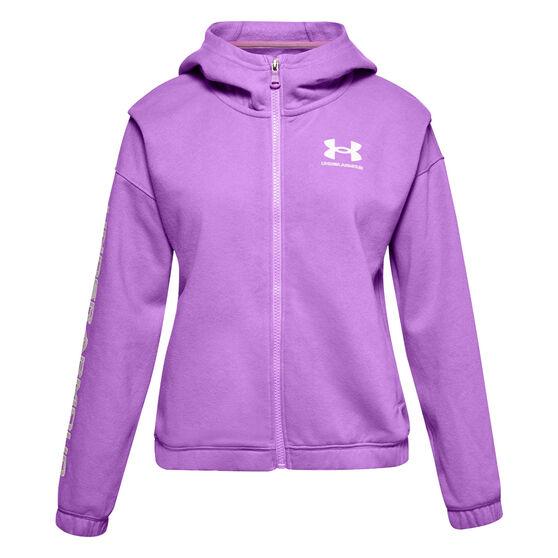 Under Armour Girls VF Rival Fleece FZ Hoodie, Purple, rebel_hi-res