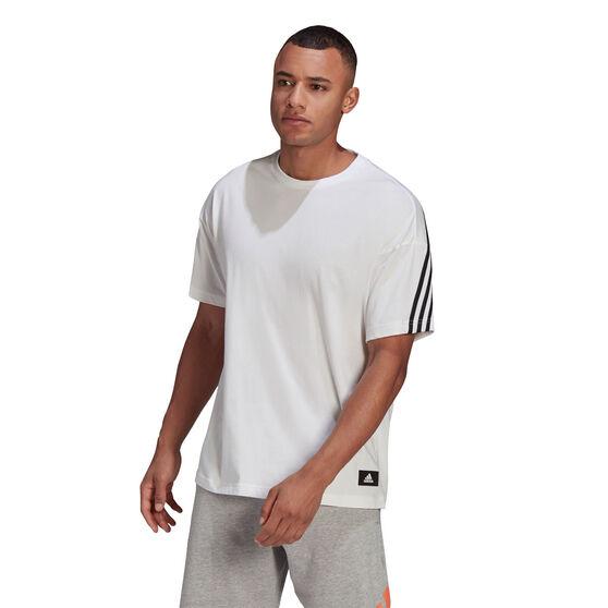 Adidas Mens FI 3 Stripes Tee, White, rebel_hi-res
