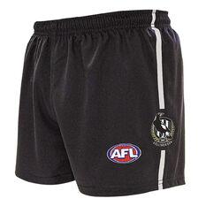 Collingwood Magpies Kids Home Supporter Shorts Black 4, Black, rebel_hi-res