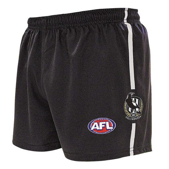 Collingwood Magpies Kids Home Supporter Shorts, Black, rebel_hi-res