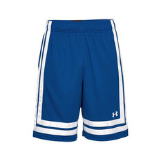 Under Armour Mens Baseline Basketball Shorts Blue / White S, Blue / White, rebel_hi-res