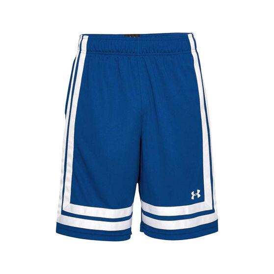 Under Armour Mens Baseline Basketball Shorts Blue / White L, Blue / White, rebel_hi-res