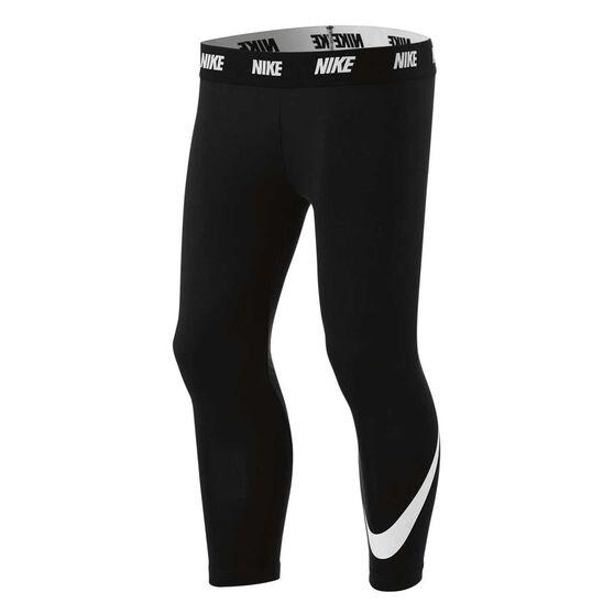 Nike Girls Sport Essentials Leggings, Black / White, rebel_hi-res