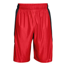 Under Armour Mens Perimeter 11in Basketball Shorts Red / Black XS, Red / Black, rebel_hi-res