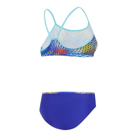 Speedo Girls Leisure Two Piece Swim Set, Blue, rebel_hi-res