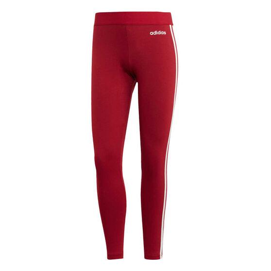 adidas Womens Essentials 3 Stripes Tights Maroon M, Maroon, rebel_hi-res