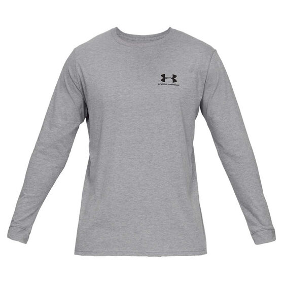 Under Armour Mens Sportstyle Left Chest Tee, Grey, rebel_hi-res