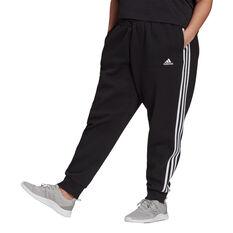 adidas Womens Essentials Fleece 3-Stripes Pants Plus Black 1X, Black, rebel_hi-res