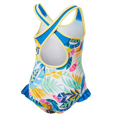 Tahwalhi Girls Rainbow Frilly One Piece Swimsuit Blue 4, Blue, rebel_hi-res