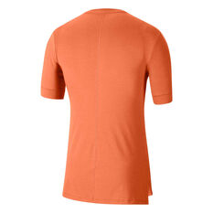 Nike Mens Dri-FIT Yoga Tee Orange S, Orange, rebel_hi-res