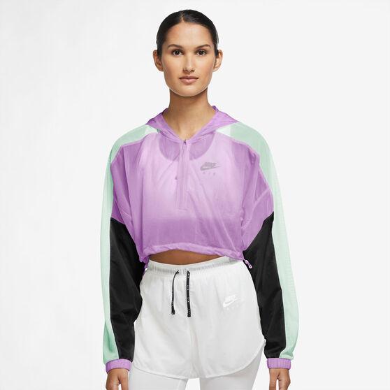 Nike Air Womens Crop Running Jacket, Purple, rebel_hi-res