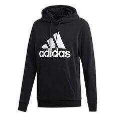 adidas Mens Must Haves Badge of Sport French Terry Hoodie Black / Grey S, Black / Grey, rebel_hi-res