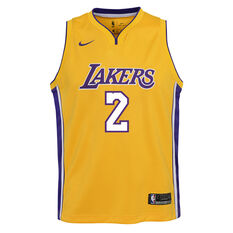 Nike Los Angeles Lakers Lonzo Ball Icon 2019 Swingman Jersey Yellow / Blue S, Yellow / Blue, rebel_hi-res