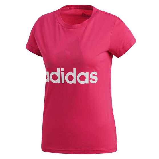 adidas Womens Essentials Linear Slim Tee Red XS, Red, rebel_hi-res