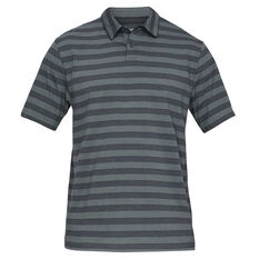538075024 Under Armour Mens Charged Cotton Scramble Striped Golf Tee Grey S