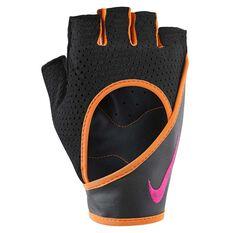Nike Womens Perforated Wrap Training Gloves Black / Orange S, Black / Orange, rebel_hi-res