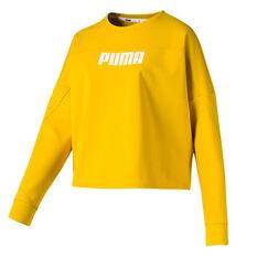Puma Womens Nutility Crew Sweatshirt Yellow XS, Yellow, rebel_hi-res