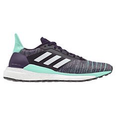 adidas Solar Glide Womens Running Shoes White / Purple US 5, White / Purple, rebel_hi-res