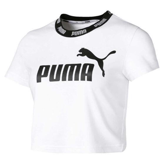 Puma Womens Amplified Cropped Tee White XL, White, rebel_hi-res