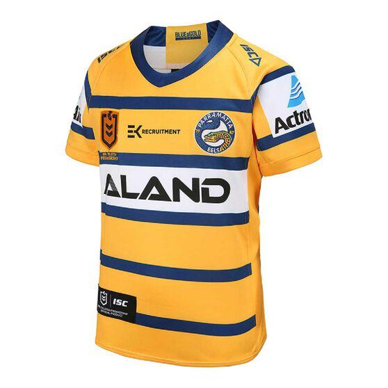 Parramatta Eels 2020 Kids Away Jersey, Yellow / Blue, rebel_hi-res