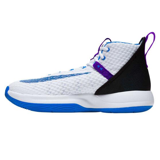 Nike Zoom Rize Mens Basketball Shoes, White / Blue, rebel_hi-res