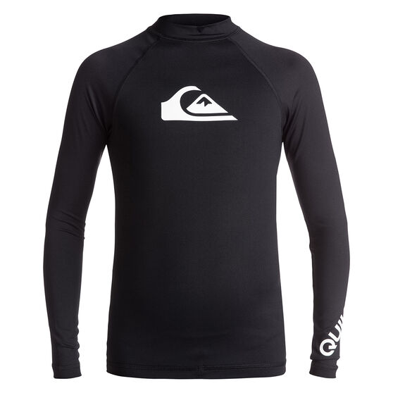 Quiksilver Mens All Time Long Sleeve Rash Vest, Black, rebel_hi-res