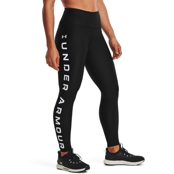 Under Armour Womens HeatGear No Slip Full Length Tights, Black, rebel_hi-res
