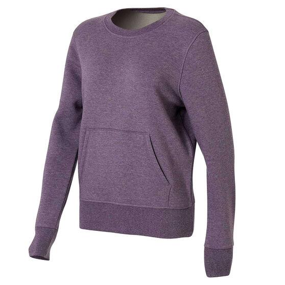 Ell & Voo Womens Harper Fleece Crew Sweatshirt, Purple, rebel_hi-res
