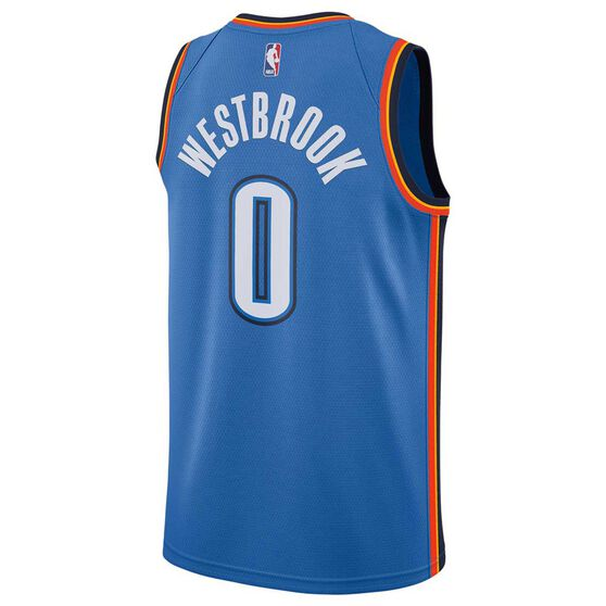 Nike Oklahoma City Thunder Russell Westbrook 2019 Mens Swingman Jersey Signal Blue S, Signal Blue, rebel_hi-res