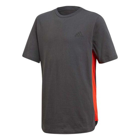 adidas Boys ID T-Shirt, Grey / Black, rebel_hi-res