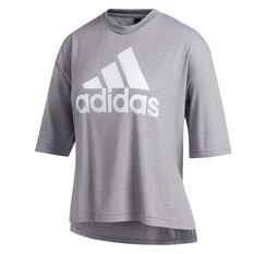 adidas Womens Must Haves Badge of Sport Graphic Tee Grey XS, Grey, rebel_hi-res