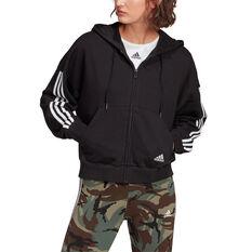 adidas Womens Full Zip 3 Stripes Fleece Hoodie Black XS, Black, rebel_hi-res