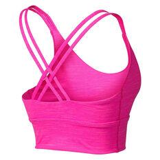 Running Bare Womens Lotus Long Line Sports Bra + Scrunchie, Pink, rebel_hi-res