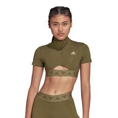 adidas Womens Hyperglam Crop Zip Tee Khaki XS, Khaki, rebel_hi-res