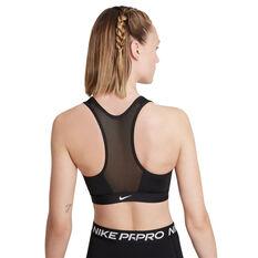 Nike Womens Dri-FIT Swoosh Zip Front Sports Bra Black XS, Black, rebel_hi-res