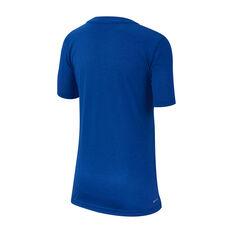 Nike Boys Breathe Hyper Dry Tee Blue / White XS, Blue / White, rebel_hi-res