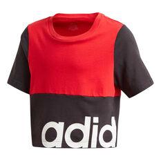 adidas Girls Linear Colourblock Tee Black 6, Black, rebel_hi-res