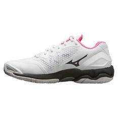 Mizuno Wave Stealth V Womens Netball Shoes White / Black US 6.5, White / Black, rebel_hi-res