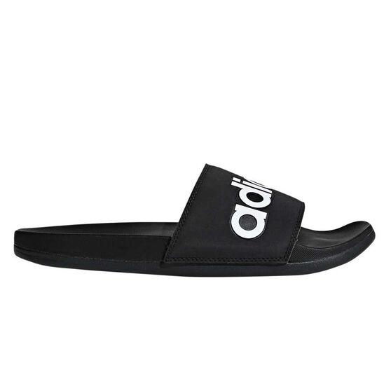 adidas Adilette Comfort Mens Slides, Black / White, rebel_hi-res