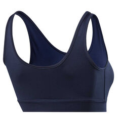 Reebok Womens Vector Low-Impact Sports Bra Navy XS, Navy, rebel_hi-res