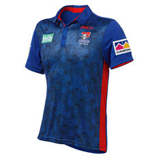 Newcastle Knights 2019 Mens Performance Polo Blue S, Blue, rebel_hi-res