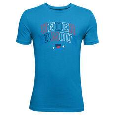 Under Armour Boys Multicolour Wordmark Tee Blue XS, Blue, rebel_hi-res
