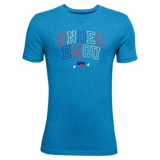Under Armour Boys Multicolour Wordmark Tee Blue L, Blue, rebel_hi-res