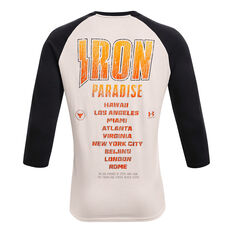 Under Armour Project Rock Mens 3/4 Sleeve Iron Tour Tee, White, rebel_hi-res