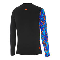 Speedo Boys Tropical Bonez Long Sleeve Rashie Black 6, Black, rebel_hi-res