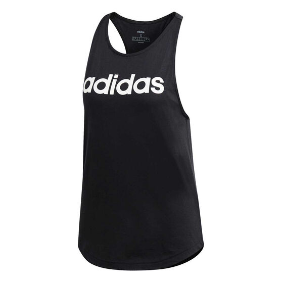 adidas Womens Essentials Linear Loose Tank, Black / White, rebel_hi-res